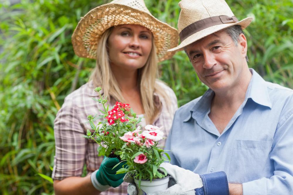 blonde-woman-and-man-holding-potted-plant