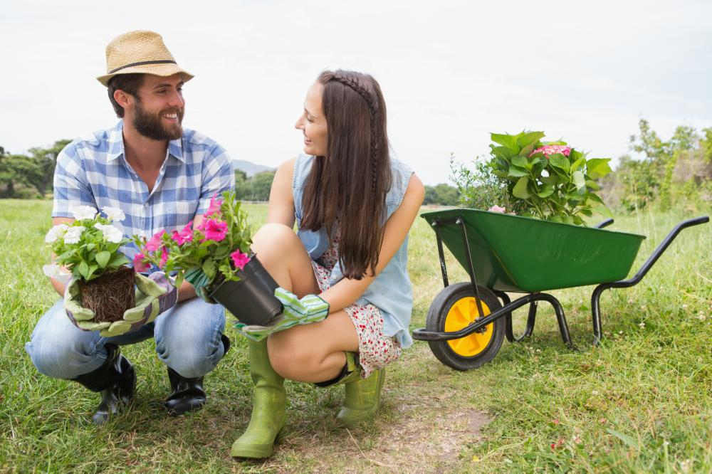 happy-young-couple-gardening-together